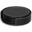 3200 Series Leather Four Round Coasters with Holder in Rustic Black