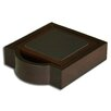 <strong>Dacasso</strong> 8000 Series Walnut and Leather Four Square Coasters with Holder in Black