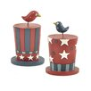 <strong>Blossom Bucket</strong> 2 Piece Americana Hats with Birds Statue Set