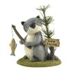 "Blossom Bucket ""Gone Fishing"" Raccoon with Fish Statue"