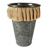 Blossom Bucket Tall Thin Round Metal Bucket with Burlap