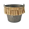 <strong>Blossom Bucket</strong> Metal Bucket with Handle and Burlap Ruffle