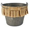 Blossom Bucket Metal Bucket with Handle and Burlap Ruffle