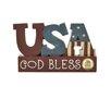 "Blossom Bucket God Bless"" USA Bubble Letter Blocks"