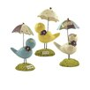 Blossom Bucket 3 Piece Dream, Sing, Enjoy Bird Figurine Set with Umbrellas