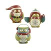 Blossom Bucket 3 Piece Snowflake and Santa Owls Figurine Set