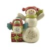 "Blossom Bucket ""Be Joyful"" Snowman with Present and Owl Figurine"