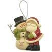 Blossom Bucket Spread The Joy Snowman and Santa Ornament