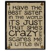 Blossom Bucket Best Sister In The World Sign Wall Decor