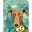 Evive Designs Dog with Flower by Holly McGee Painting Print