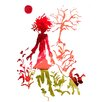 Evive Designs Girl and Dog Silhouette Paper Print