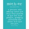 Evive Designs 'Mother' by Susan Newberry Textual Art in Turquoise