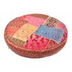 <strong>Found Object</strong> Patchwork Sari Brocade Round Pillow