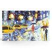 Artefx Decor City Rain Textured Painting Print on Canvas