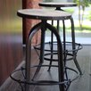 Timbergirl Industrial Round Reclaimed Wood and Iron Stool