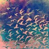 """Salty & Sweet """"Flock of Seagulls Pastel"""" Graphic Art on Canvas"""