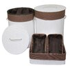 ORE Furniture 5 Piece Round Folding Bamboo Laundry Hamper and Tray Set