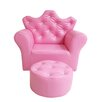<strong>Princess Crown Kids Toddler Sofa Couch with Matching Stool</strong> by All 4 Kids