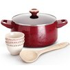 <strong>Enamel on Steel Aluminum 5-Piece Cookware Set</strong> by Paula Deen