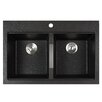 "Kraus 33.5"" x 22"" Dual Mount 50/50 Double Bowl Granite Kitchen Sink"