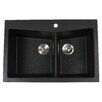 "<strong>33.5"" x 22"" Dual Mount 60/40 Double Bowl Granite Kitchen Sink</strong> by Kraus"