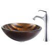 Kraus Bastet Glass Vessel Sink with Ventus Faucet
