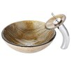 Kraus Terra Glass Vessel Sink with Waterfall Faucet