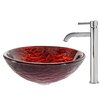 Kraus Nix Glass Vessel Sink with Ramus Faucet