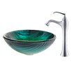 Kraus Nei Glass Vessel Sink with Ventus Faucet