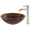 Kraus Dryad Glass Vessel Sink with Ramus Faucet