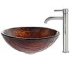 Kraus Titania Glass Vessel Sink with Ramus Faucet