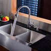 "Kraus 35.9"" x 20.75"" Double Bowl Farmhouse Kitchen Sink with Faucet and Soap Dispenser"