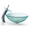 Broken Glass Vessel Sink and Waterfall Faucet