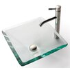 Kraus Square Clear Aquamarine Glass Sink and Aldo Faucet