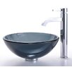 <strong>Kraus</strong> Clear Black Glass Vessel Sink and Ramus Faucet
