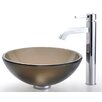 "Kraus Frosted Brown 14"" Glass Vessel Sink and Ramus Faucet"
