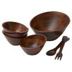 <strong>Woodard & Charles</strong> Rubberwood Angle 7 Piece Salad Serving Set