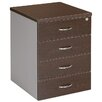 4 Drawer Mobile Pedestal Filling Cabinet in Wenge / Silver Cooper Furniture