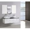 <strong>Modern Wall Hang Vanity with Double Bathroom Cabinet in White 153cm</strong> by A & L Imports