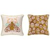 <strong>Sarah Watts</strong> Bee Reversible Printed and Embroidered Pillow