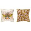 <strong>Insect Reversible Printed and Embroidered Pillow</strong> by Sarah Watts