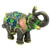 Cristiani Collezione 24KT Gold Plated Indian Princess Elephant with Green Stripes Keepsake Box