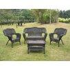 International Caravan Chelsea Wicker Resin Steel 4 Piece Lounge Seating Group