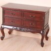 International Caravan Windsor Hand Carved 4-Drawer Wooden Console Table