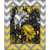 Obvious Place Daisies Gray and Yellow Chevron Graphic Art on Canvas in White and Yellow