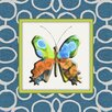 <strong>Obvious Place</strong> Blue and Orange Butterfly Graphic Art on Canvas