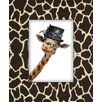Obvious Place Giraffe with Hat Graphic Art on Canvas