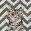 Obvious Place Cat with Orange Glasses Graphic Art on Canvas