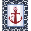 Obvious Place Freehand Striped Anchor Graphic Art on Canvas in Red