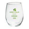 "Baby Aspen ""Keep Calm and Drink On"" Green Design Stemless Wine Glass (Set of 4)"